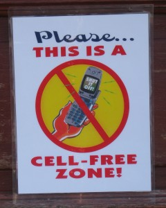 At a health food store in Mendocino CA customers are asked to not use cell phones